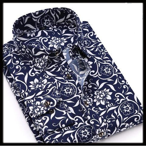 Men long Shirts flower style for party work wedding