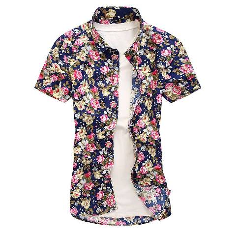 Men short Shirts flower style for party work wedding